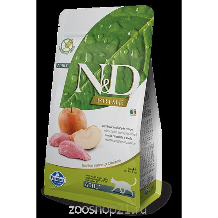 Корм Farmina N&D Boar & Apple Adult беззерновой для взрослых кошек кабан с яблоком, 1.5 кг